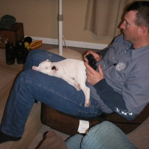 Hank playing PS3 with dad! LOL
