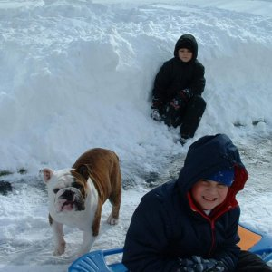 Fun in the snow, blizzard of 2009, with his two brothers