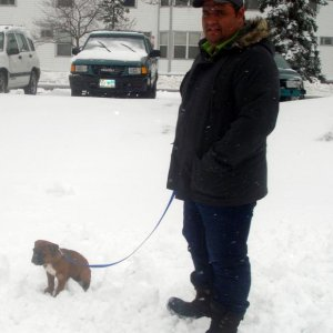@ 11 weeks, with my Dad (I love the snow!!).