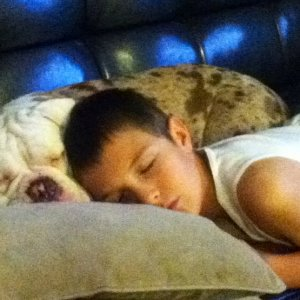 Sugar with her best friend, my son, Cameron